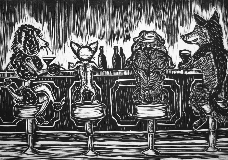 Sketch of Four Dogs at Bar